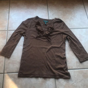 3/$30 Lauren Ralph Lauren Brown Ruffle Top Medium
